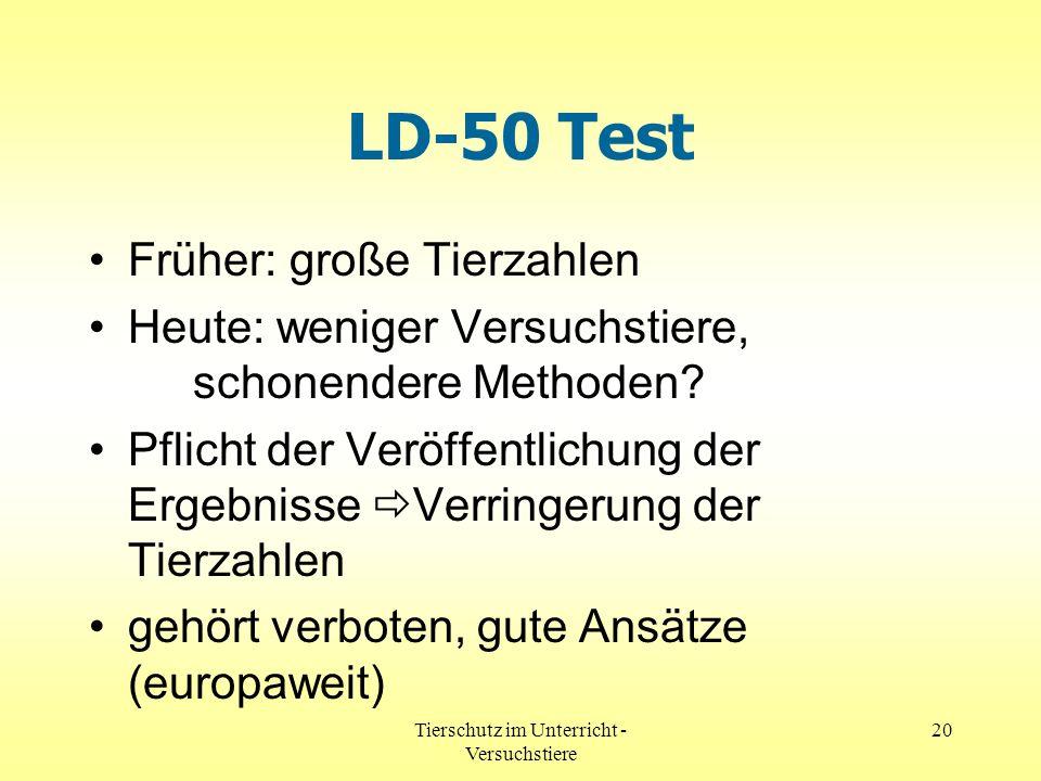 Tierschutz im Unterricht - Versuchstiere 20 LD-50 Test Früher: große Tierzahlen Heute: weniger Versuchstiere, schonendere Methoden? Pflicht der Veröff