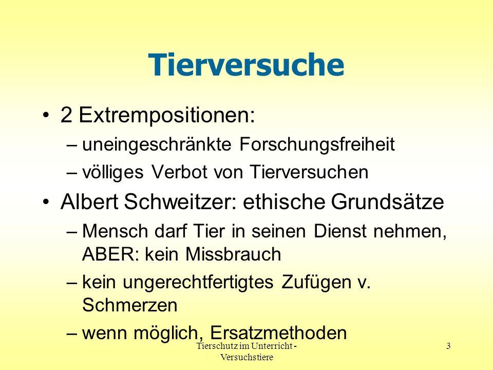 Tierschutz im Unterricht - Versuchstiere 3 Tierversuche 2 Extrempositionen: –uneingeschränkte Forschungsfreiheit –völliges Verbot von Tierversuchen Al