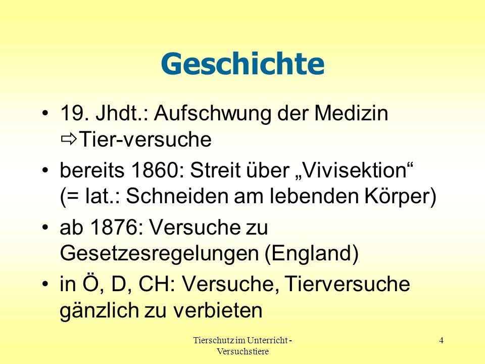 Tierschutz im Unterricht - Versuchstiere 4 Geschichte 19. Jhdt.: Aufschwung der Medizin Tier-versuche bereits 1860: Streit über Vivisektion (= lat.: S