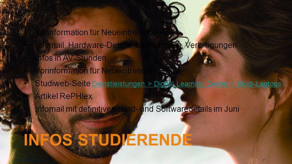 INFOS STUDIERENDE peter.suter@phzh.ch 17 Vorinformation für Neueintretende HS11 Infomail Hardware-Details, Kaufkriterien, Verbilligungen Infos in AV-S