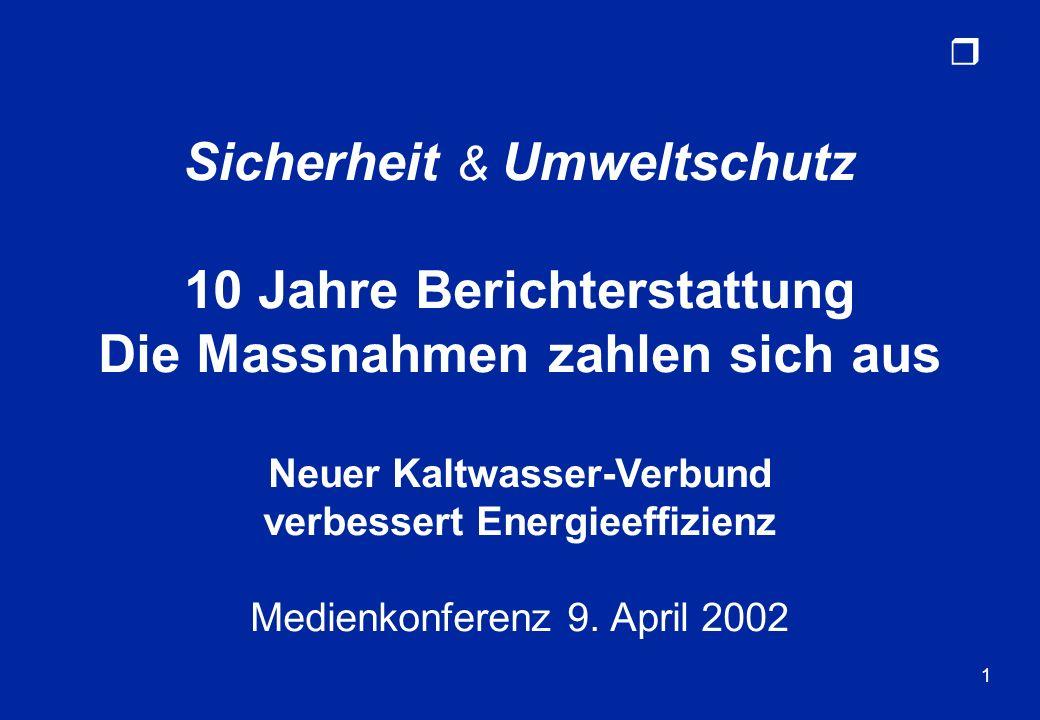 r 1 Sicherheit & Umweltschutz 10 Jahre Berichterstattung Die Massnahmen zahlen sich aus Neuer Kaltwasser-Verbund verbessert Energieeffizienz Medienkon