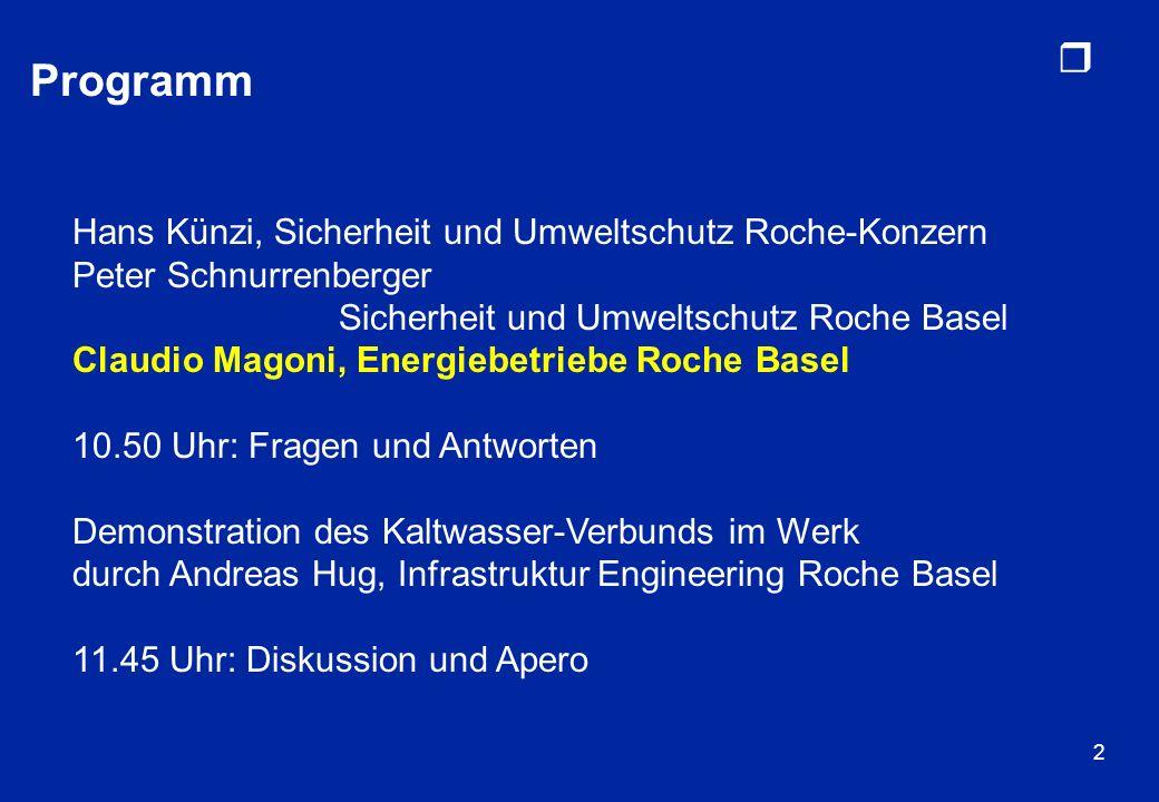 r 2 Programm Hans Künzi, Sicherheit und Umweltschutz Roche-Konzern Peter Schnurrenberger Sicherheit und Umweltschutz Roche Basel Claudio Magoni, Energ