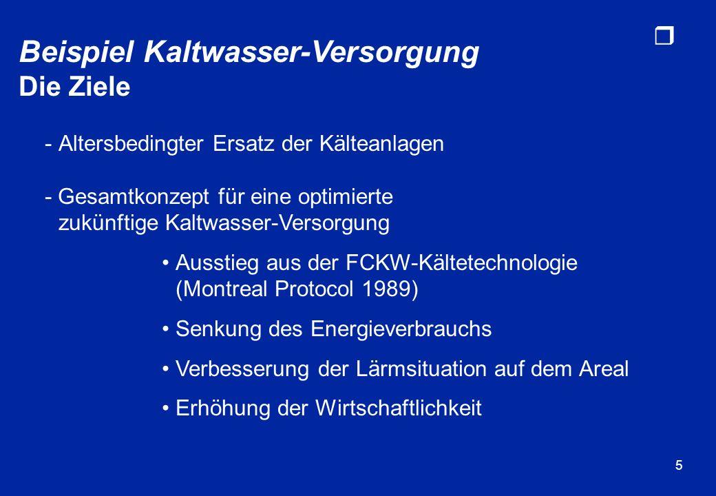 r 5 Beispiel Kaltwasser-Versorgung Die Ziele -Altersbedingter Ersatz der Kälteanlagen - Gesamtkonzept für eine optimierte zukünftige Kaltwasser-Versor