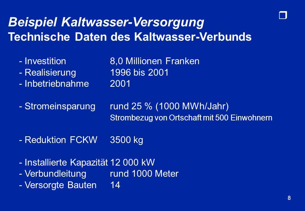 r 8 Beispiel Kaltwasser-Versorgung Technische Daten des Kaltwasser-Verbunds - Investition8,0 Millionen Franken - Realisierung1996 bis 2001 - Inbetrieb