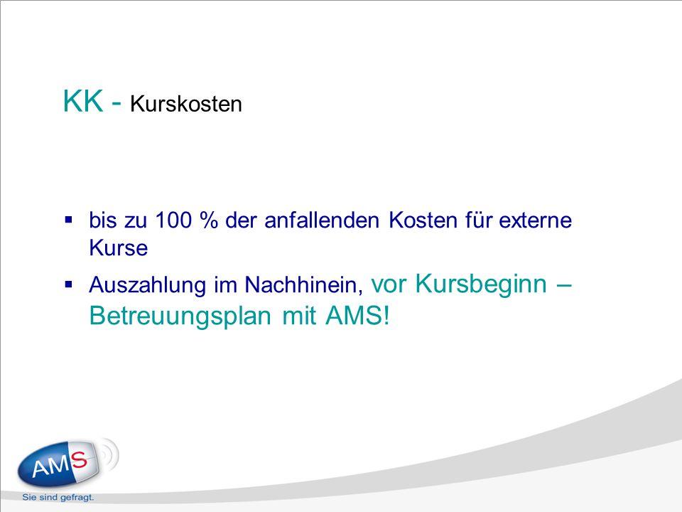 KK - Kurskosten bis zu 100 % der anfallenden Kosten für externe Kurse Auszahlung im Nachhinein, vor Kursbeginn – Betreuungsplan mit AMS!