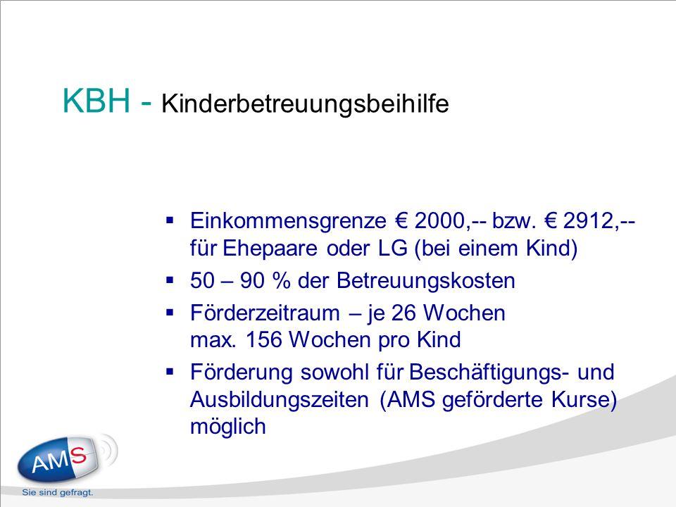 KBH - Kinderbetreuungsbeihilfe Einkommensgrenze 2000,-- bzw. 2912,-- für Ehepaare oder LG (bei einem Kind) 50 – 90 % der Betreuungskosten Förderzeitra