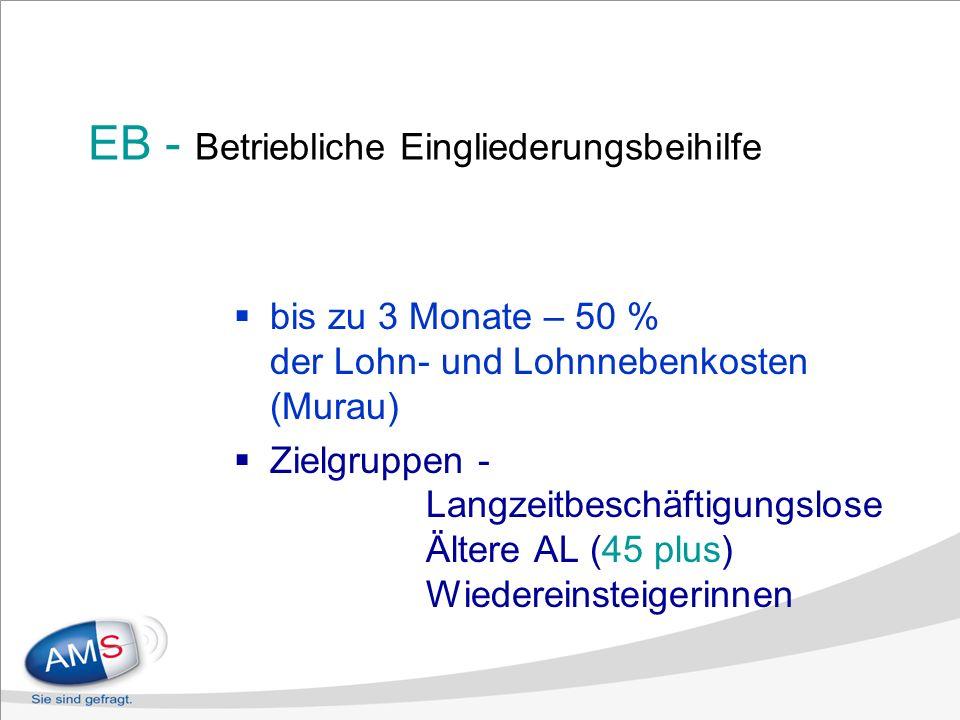 EB - Betriebliche Eingliederungsbeihilfe bis zu 3 Monate – 50 % der Lohn- und Lohnnebenkosten (Murau) Zielgruppen - Langzeitbeschäftigungslose Ältere AL (45 plus) Wiedereinsteigerinnen