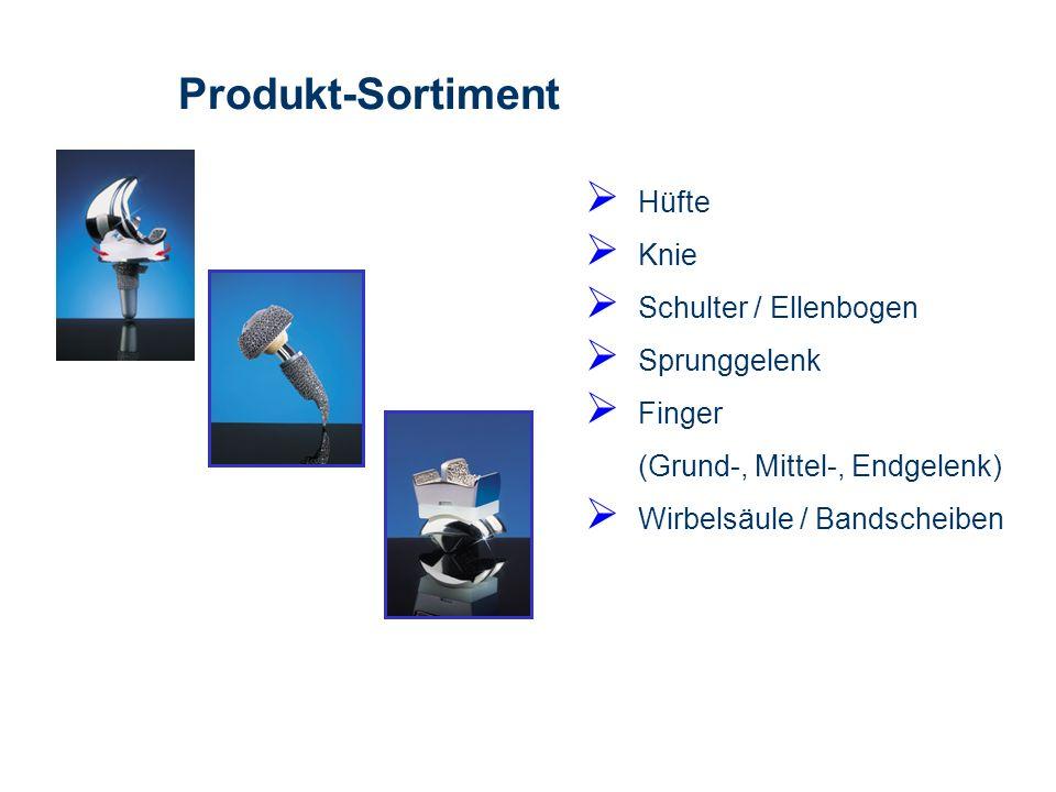 Produkt-Sortiment Hüfte Knie Schulter / Ellenbogen Sprunggelenk Finger (Grund-, Mittel-, Endgelenk) Wirbelsäule / Bandscheiben