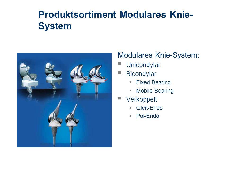 Produktsortiment Modulares Knie- System Modulares Knie-System: Unicondylär Bicondylär Fixed Bearing Mobile Bearing Verkoppelt Gleit-Endo Pol-Endo