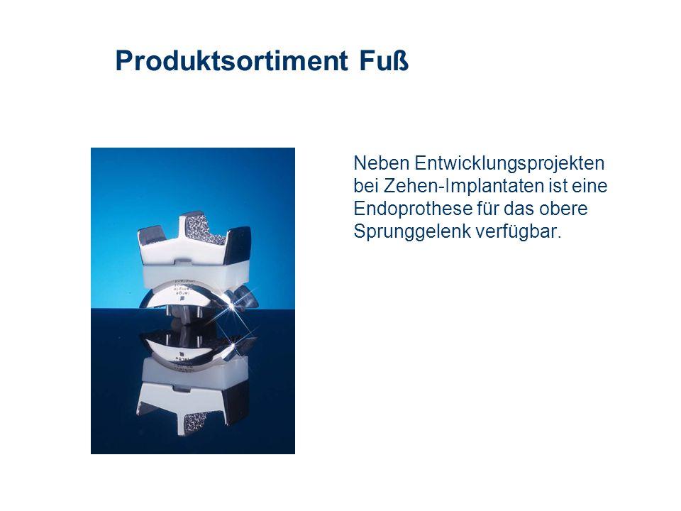 Neben Entwicklungsprojekten bei Zehen-Implantaten ist eine Endoprothese für das obere Sprunggelenk verfügbar. Produktsortiment Fuß