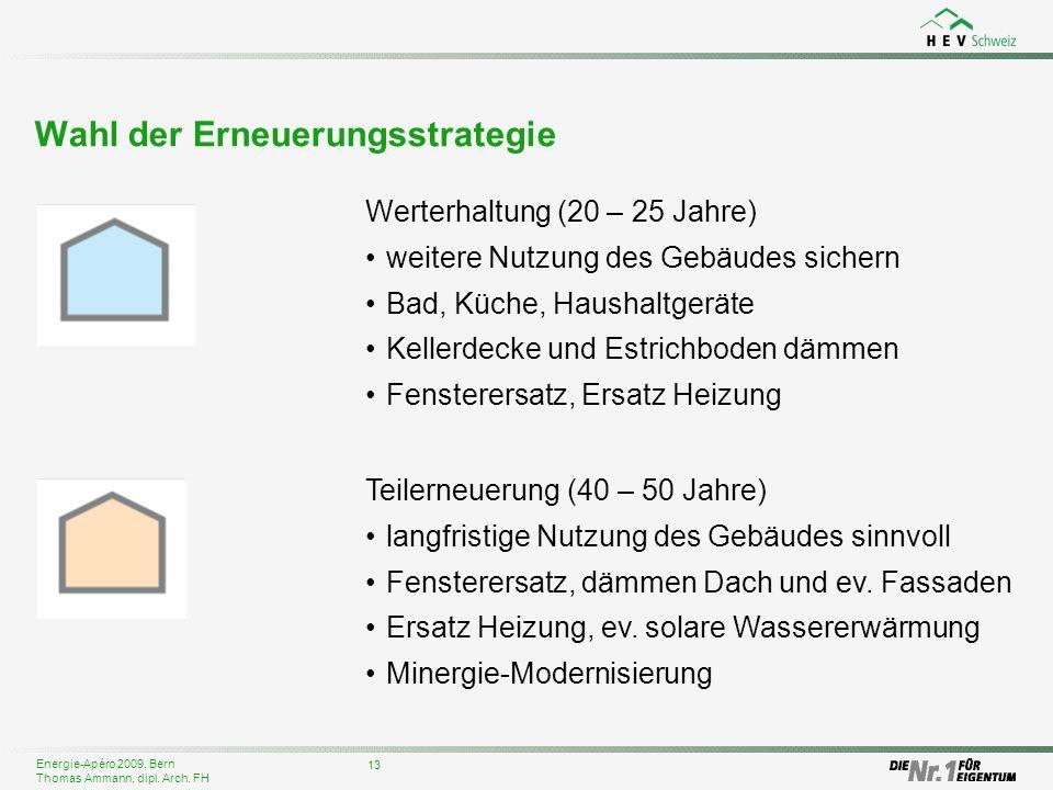 Energie-Apéro 2009, Bern Thomas Ammann, dipl. Arch. FH 13 Wahl der Erneuerungsstrategie Werterhaltung (20 – 25 Jahre) weitere Nutzung des Gebäudes sic