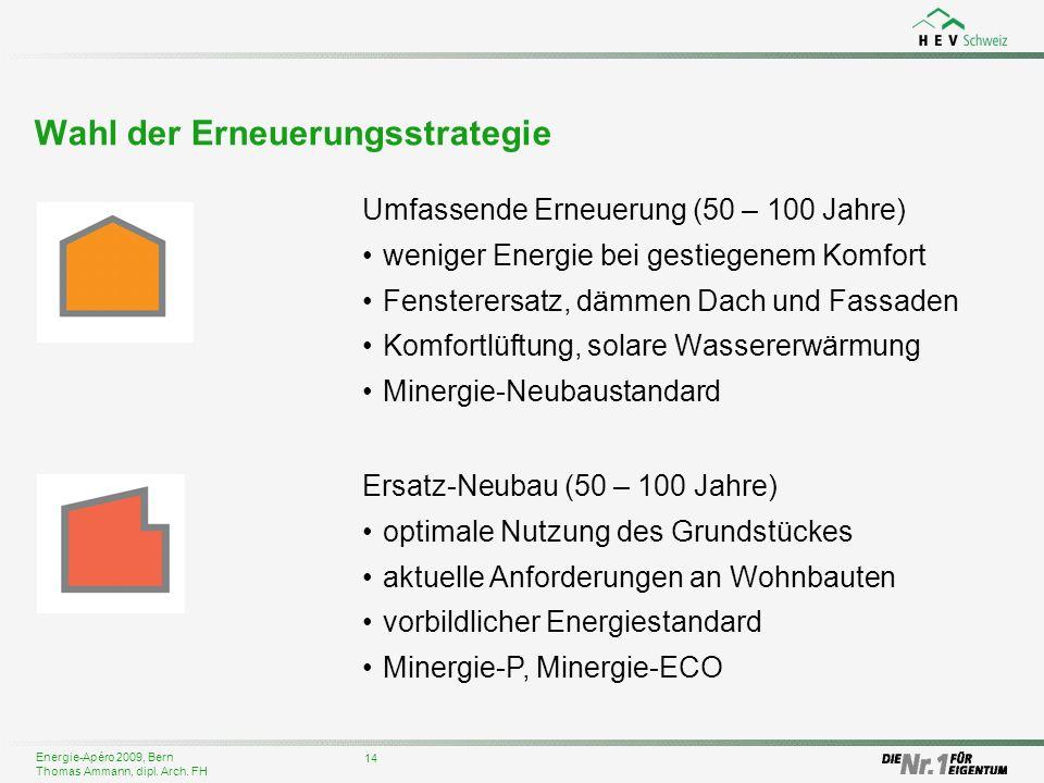 Energie-Apéro 2009, Bern Thomas Ammann, dipl. Arch. FH 14 Wahl der Erneuerungsstrategie Umfassende Erneuerung (50 – 100 Jahre) weniger Energie bei ges