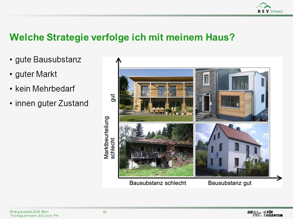 Energie-Apéro 2009, Bern Thomas Ammann, dipl. Arch. FH Welche Strategie verfolge ich mit meinem Haus? 15 gute Bausubstanz guter Markt kein Mehrbedarf