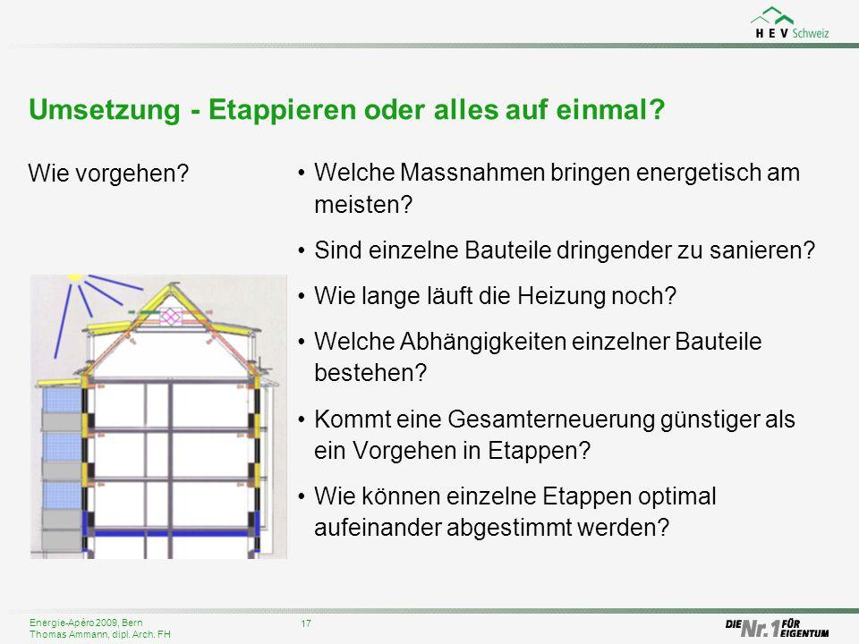 Energie-Apéro 2009, Bern Thomas Ammann, dipl. Arch. FH Umsetzung - Etappieren oder alles auf einmal? Welche Massnahmen bringen energetisch am meisten?