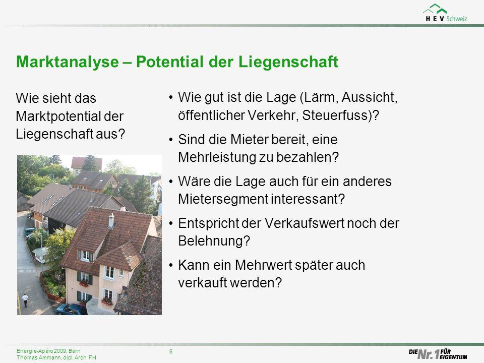 Energie-Apéro 2009, Bern Thomas Ammann, dipl. Arch. FH Marktanalyse – Potential der Liegenschaft Wie sieht das Marktpotential der Liegenschaft aus? 6