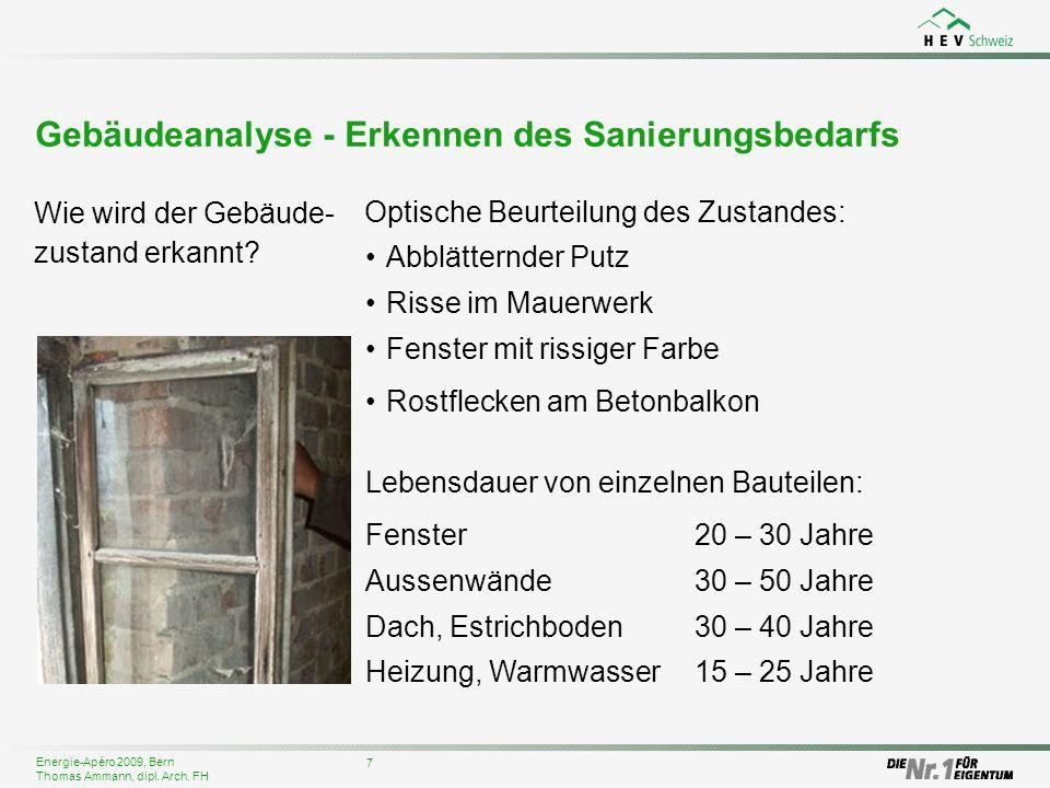 Energie-Apéro 2009, Bern Thomas Ammann, dipl. Arch. FH Abblätternder Putz Risse im Mauerwerk Fenster mit rissiger Farbe Rostflecken am Betonbalkon 7 G