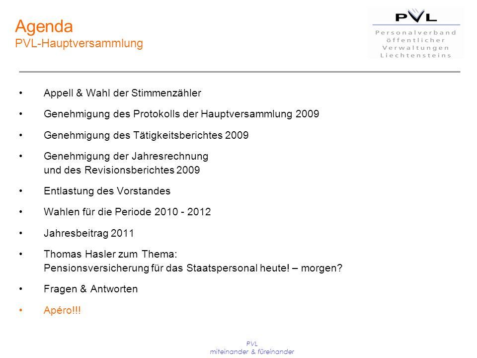 PVL miteinander & füreinander Agenda PVL-Hauptversammlung Appell & Wahl der Stimmenzähler Genehmigung des Protokolls der Hauptversammlung 2009 Genehmi