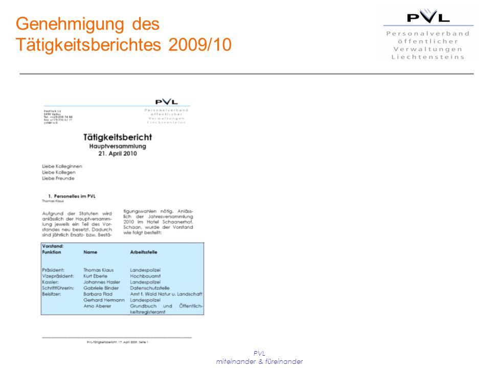 PVL miteinander & füreinander Genehmigung des Tätigkeitsberichtes 2009/10