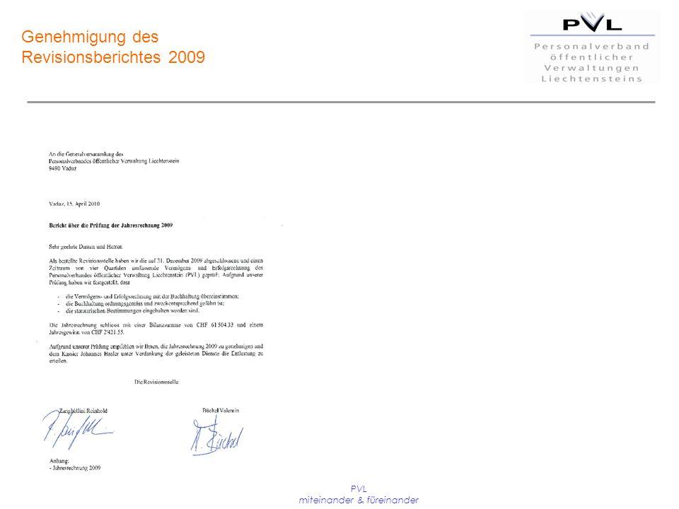 PVL miteinander & füreinander Genehmigung des Revisionsberichtes 2009