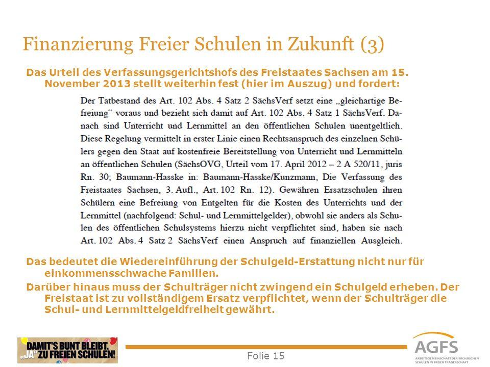 Folie 15 Das Urteil des Verfassungsgerichtshofs des Freistaates Sachsen am 15. November 2013 stellt weiterhin fest (hier im Auszug) und fordert: Das b