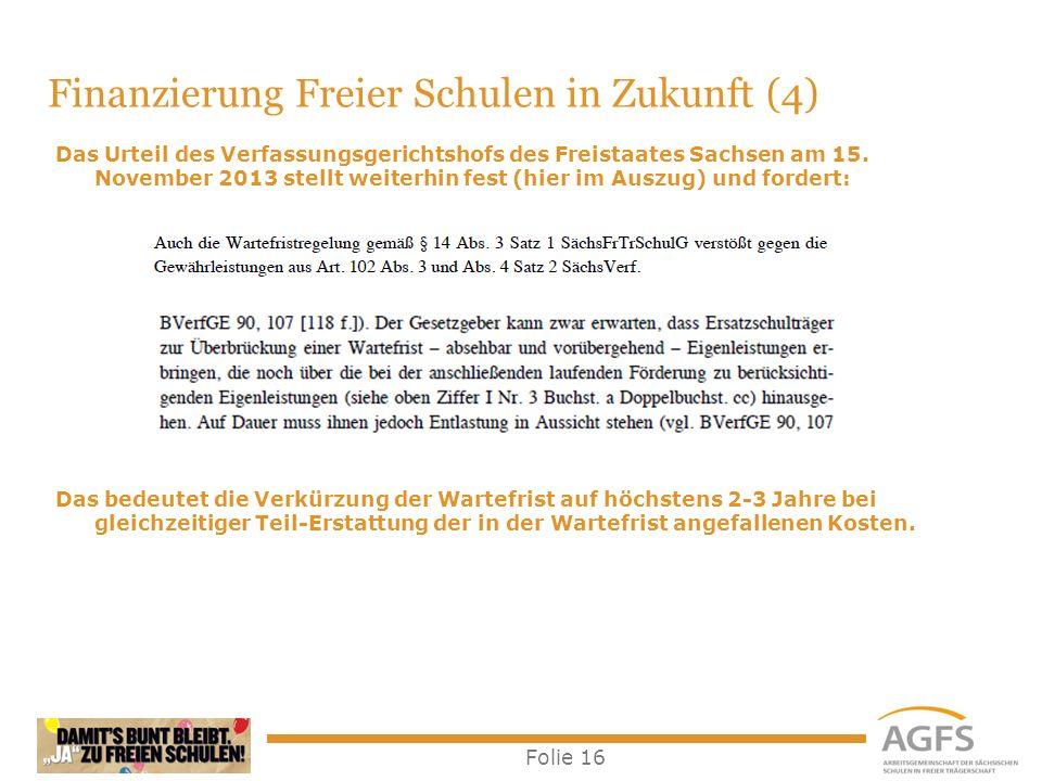 Folie 16 Das Urteil des Verfassungsgerichtshofs des Freistaates Sachsen am 15. November 2013 stellt weiterhin fest (hier im Auszug) und fordert: Das b