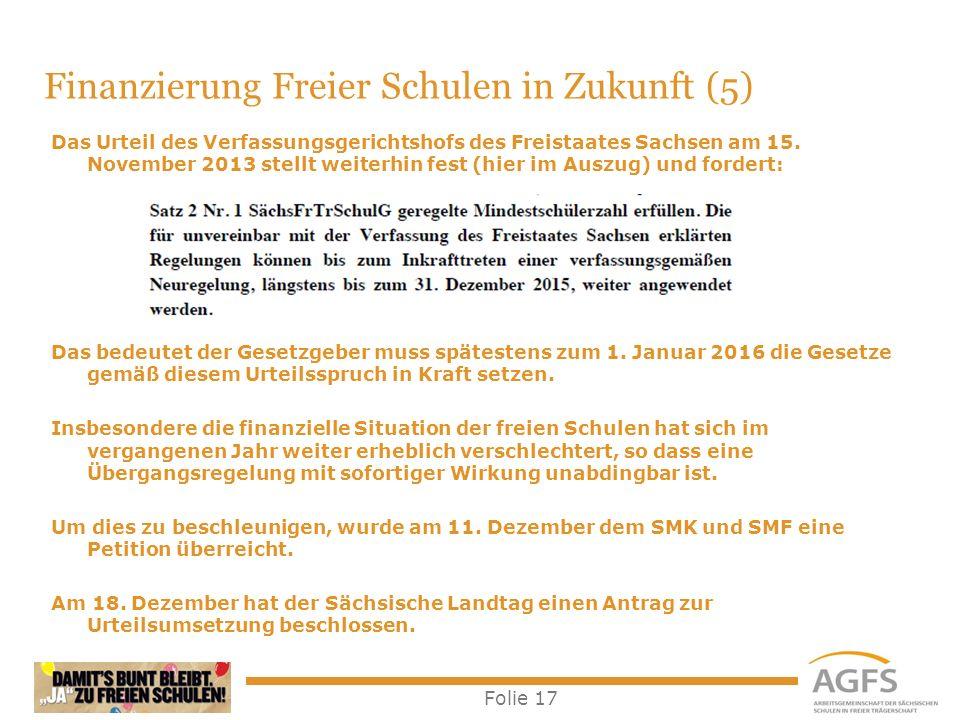 Folie 17 Das Urteil des Verfassungsgerichtshofs des Freistaates Sachsen am 15. November 2013 stellt weiterhin fest (hier im Auszug) und fordert: Das b
