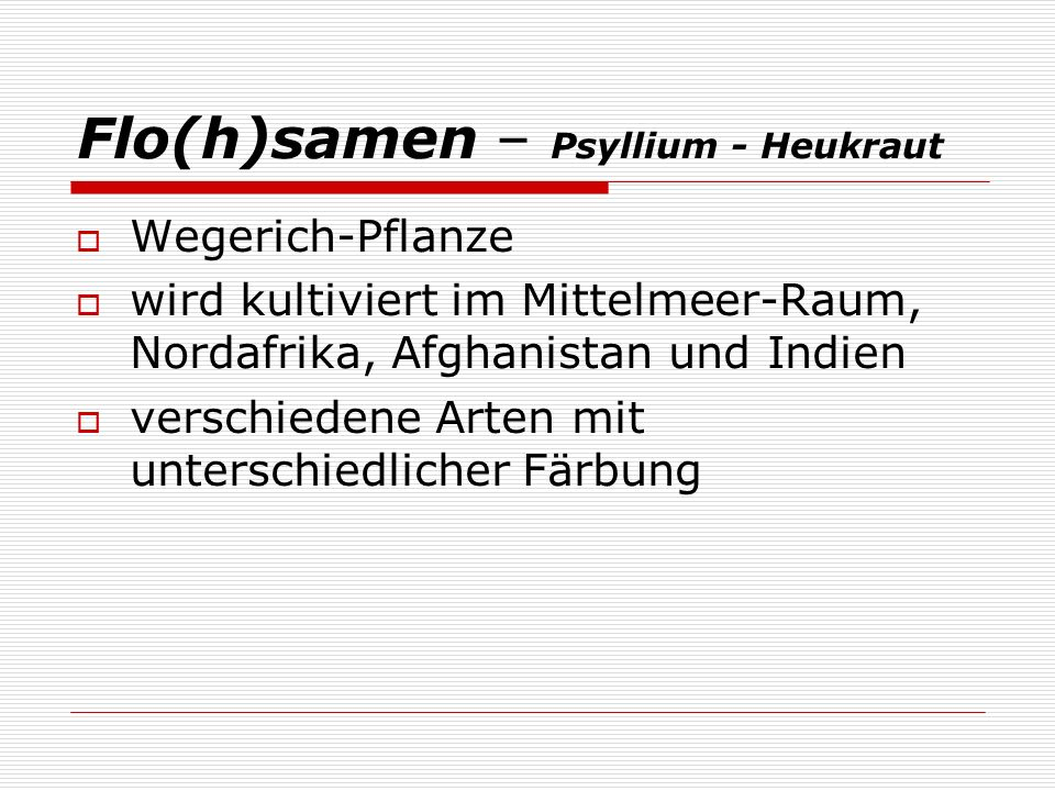 Flo(h)samen – Psyllium - Heukraut Wegerich-Pflanze wird kultiviert im Mittelmeer-Raum, Nordafrika, Afghanistan und Indien verschiedene Arten mit unter