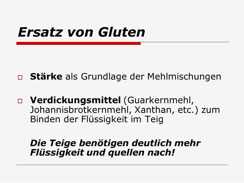 Ersatz von Gluten Stärke als Grundlage der Mehlmischungen Verdickungsmittel (Guarkernmehl, Johannisbrotkernmehl, Xanthan, etc.) zum Binden der Flüssig