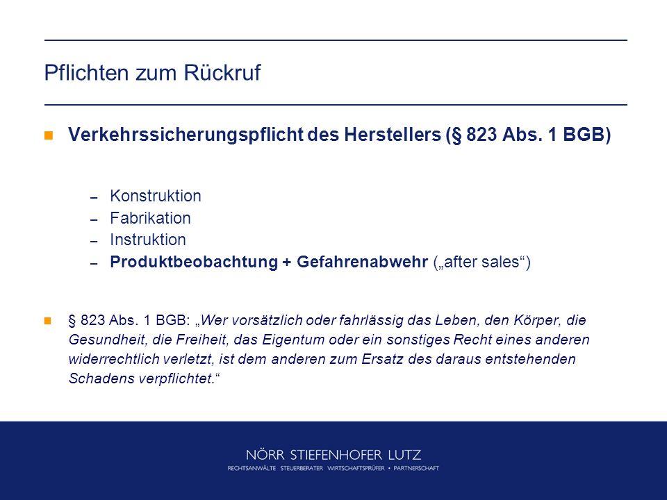 Pflichten zum Rückruf Verkehrssicherungspflicht des Herstellers (§ 823 Abs.