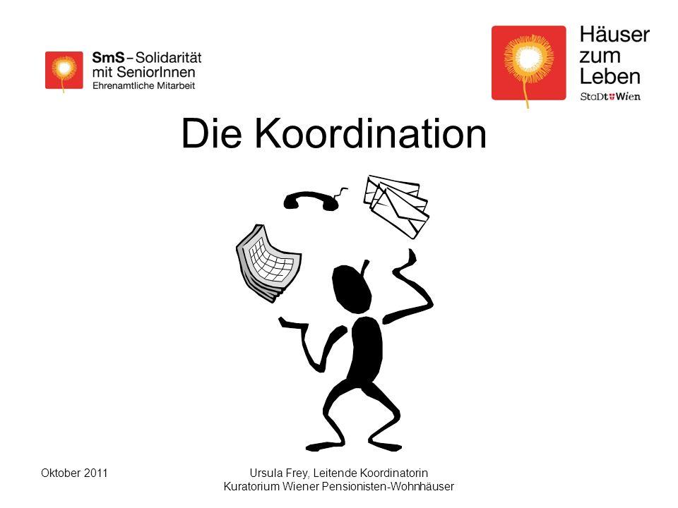 Ursula Frey, Leitende Koordinatorin Kuratorium Wiener Pensionisten-Wohnhäuser Oktober 2011 Die Koordination