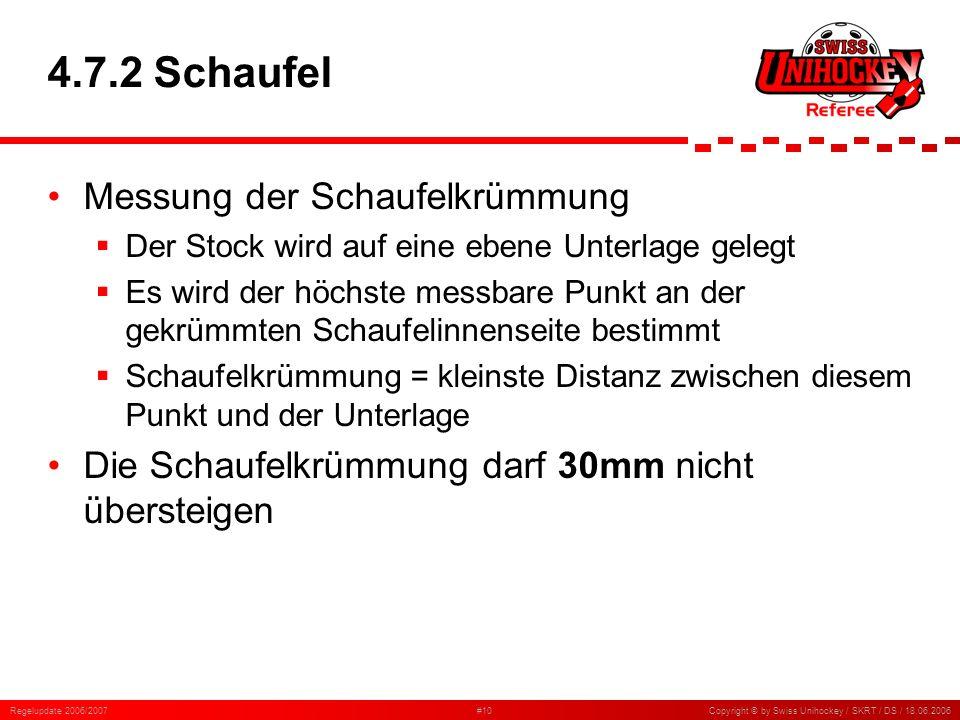 Regelupdate 2006/2007#10Copyright © by Swiss Unihockey / SKRT / DS / 18.06.2006 4.7.2 Schaufel Messung der Schaufelkrümmung Der Stock wird auf eine eb