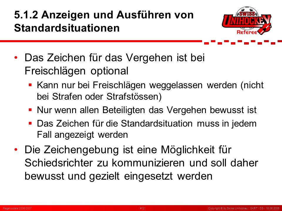 Regelupdate 2006/2007#12Copyright © by Swiss Unihockey / SKRT / DS / 18.06.2006 5.1.2 Anzeigen und Ausführen von Standardsituationen Das Zeichen für d
