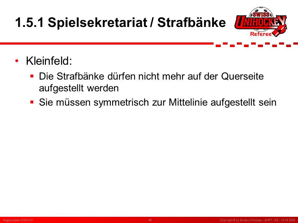 Regelupdate 2006/2007#35Copyright © by Swiss Unihockey / SKRT / DS / 18.06.2006 6.15.5 Planmässiges Stören Neu gelten als planmässiges Stören: Das Verwenden von Haftmitteln Das Verwenden von Gleitmitteln