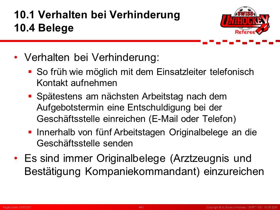 Regelupdate 2006/2007#43Copyright © by Swiss Unihockey / SKRT / DS / 18.06.2006 10.1 Verhalten bei Verhinderung 10.4 Belege Verhalten bei Verhinderung