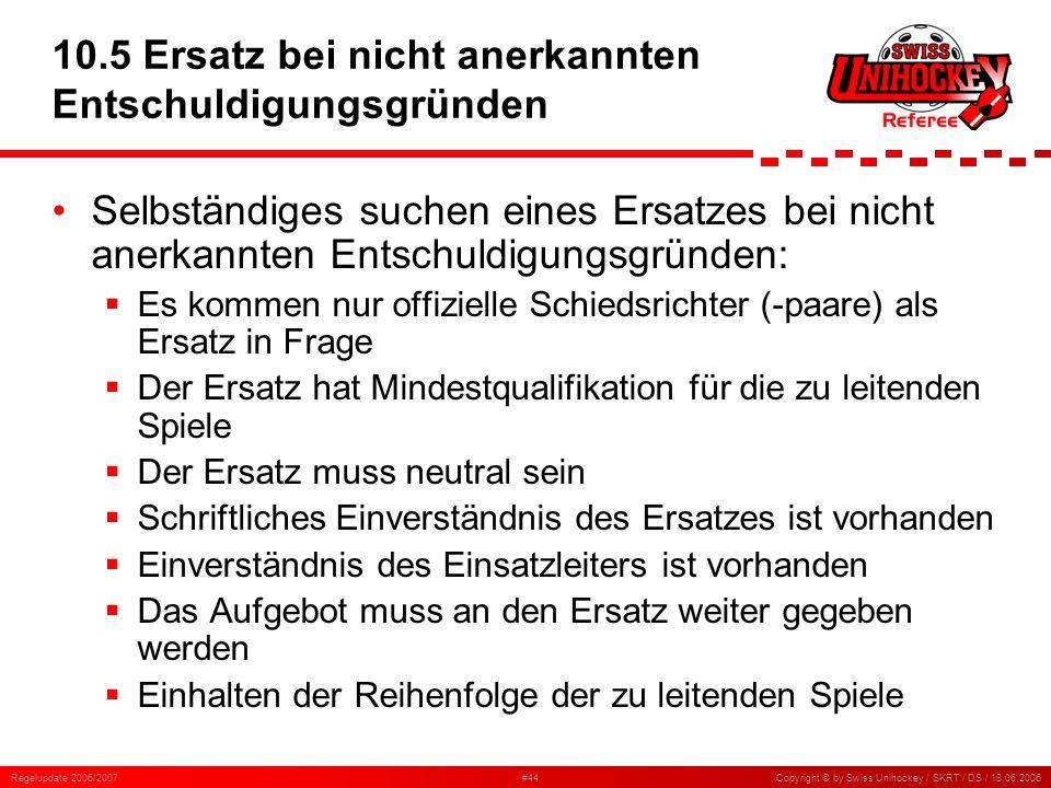 Regelupdate 2006/2007#44Copyright © by Swiss Unihockey / SKRT / DS / 18.06.2006 10.5 Ersatz bei nicht anerkannten Entschuldigungsgründen Selbständiges