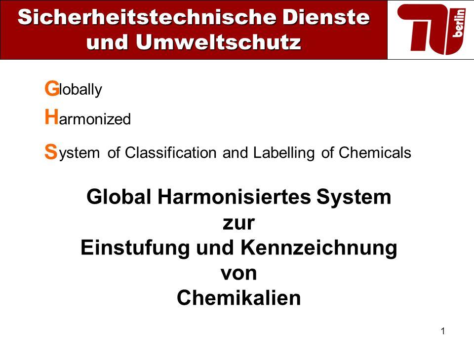 1 Sicherheitstechnische Dienste und Umweltschutz Global Harmonisiertes System zur Einstufung und Kennzeichnung von Chemikalien of Classification and L