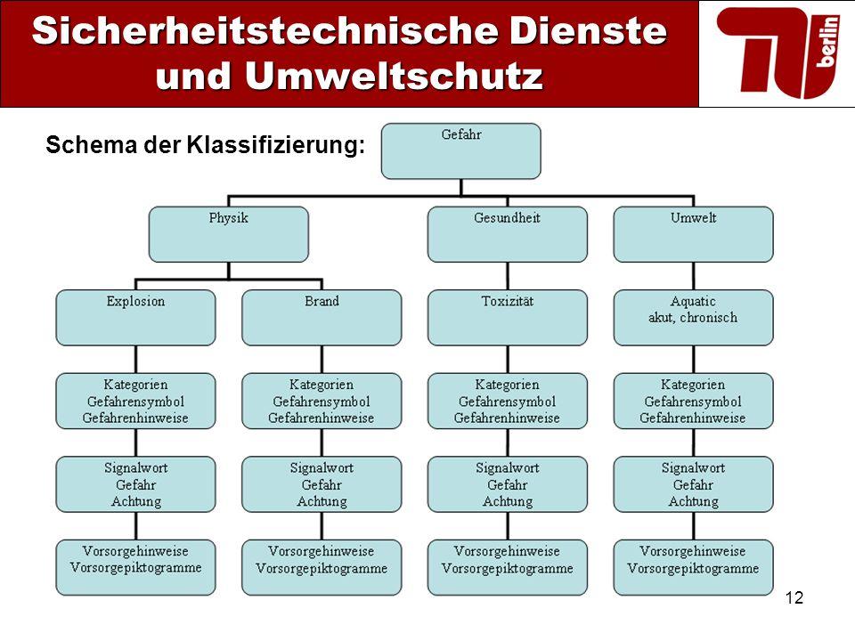 12 Sicherheitstechnische Dienste und Umweltschutz Schema der Klassifizierung: