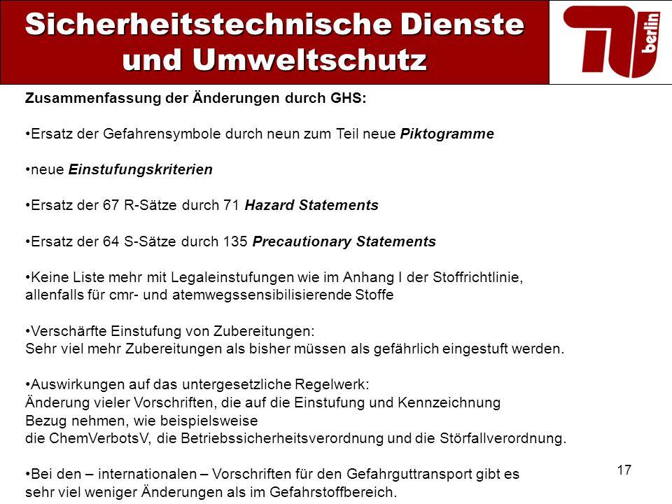 17 Sicherheitstechnische Dienste und Umweltschutz Zusammenfassung der Änderungen durch GHS: Ersatz der Gefahrensymbole durch neun zum Teil neue Piktog