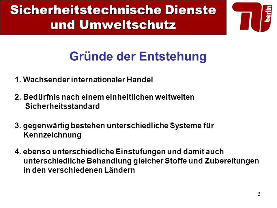3 Sicherheitstechnische Dienste und Umweltschutz 1. Wachsender internationaler Handel Gründe der Entstehung 2. Bedürfnis nach einem einheitlichen welt