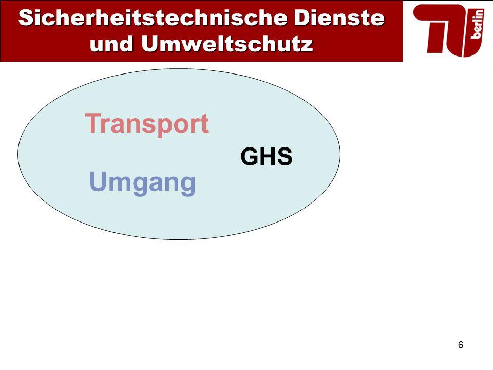6 Sicherheitstechnische Dienste und Umweltschutz Transport Umgang GHS