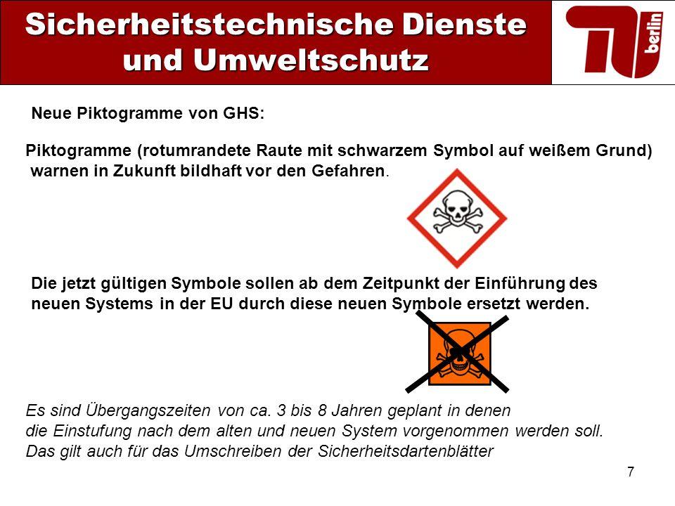 7 Sicherheitstechnische Dienste und Umweltschutz Piktogramme (rotumrandete Raute mit schwarzem Symbol auf weißem Grund) warnen in Zukunft bildhaft vor
