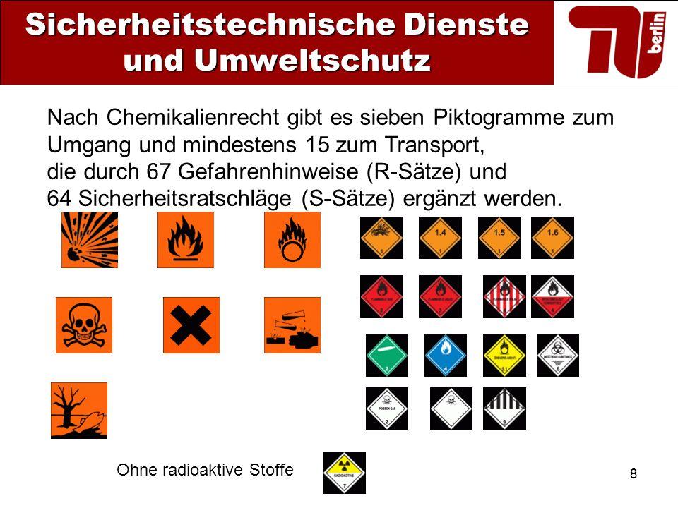 8 Sicherheitstechnische Dienste und Umweltschutz Nach Chemikalienrecht gibt es sieben Piktogramme zum Umgang und mindestens 15 zum Transport, die durc