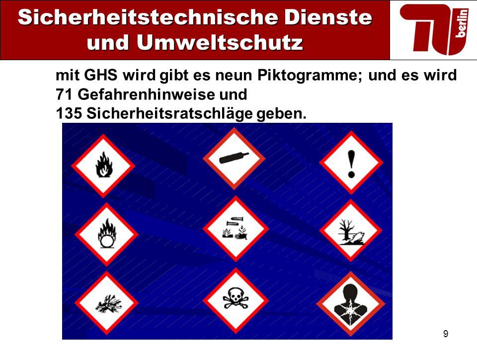 9 Sicherheitstechnische Dienste und Umweltschutz mit GHS wird gibt es neun Piktogramme; und es wird 71 Gefahrenhinweise und 135 Sicherheitsratschläge