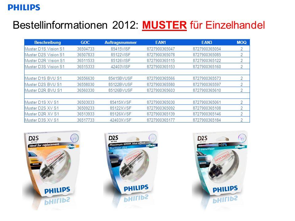 Bestellinformationen 2012: MUSTER für Einzelhandel BeschreibungGOCAuftragsnummerEAN1EAN3MOQ Muster D1S Vision S13650473385415VISF872790036504787279003650542 Muster D2S Vision S13650783385122VISF872790036507887279003650852 Muster D2R Vision S13651153385126VISF872790036511587279003651222 Muster D3S Vision S13651533342403VISF872790036515387279003651602 Muster D1S BVU S13655663085415BVUSF872790036556687279003655732 Muster D2S BVU S13655803085122BVUSF872790036558087279003655972 Muster D2R BVU S13656033085126BVUSF872790036560387279003656102 Muster D1S XV S13650303385415XVSF872790036503087279003650612 Muster D2S XV S13650923385122XVSF872790036509287279003651082 Muster D2R XV S13651393385126XVSF872790036513987279003651462 Muster D3S XV S13651773342403XVSF872790036517787279003651842