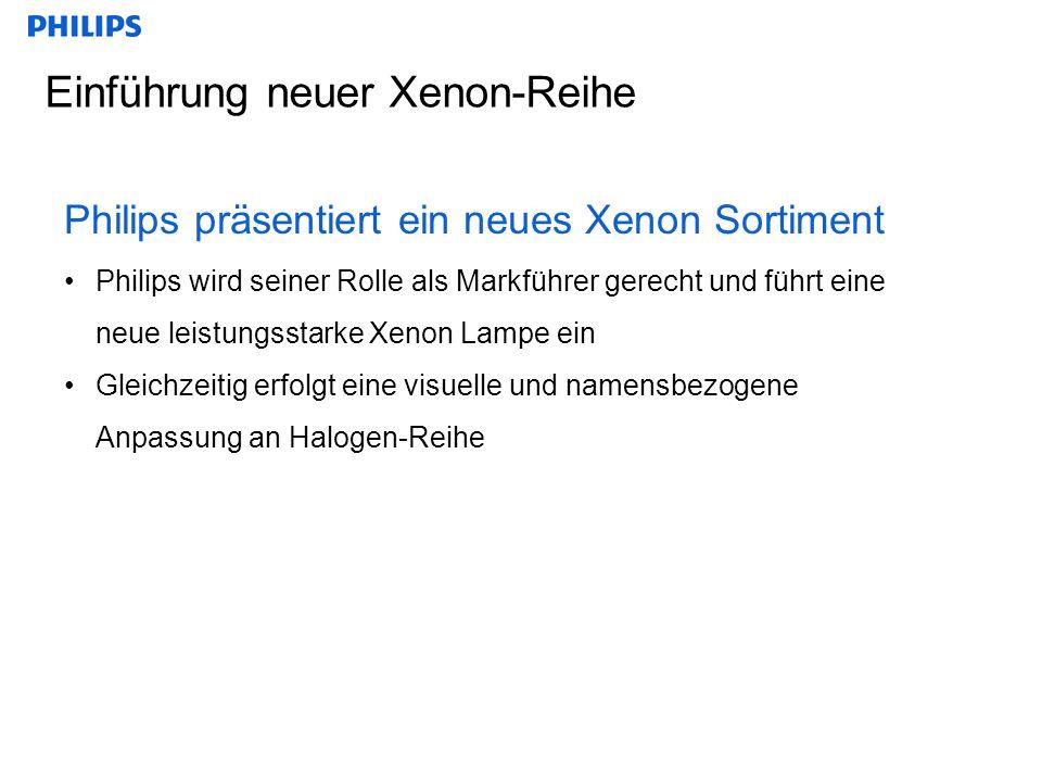 Einführung neuer Xenon-Reihe Philips präsentiert ein neues Xenon Sortiment Philips wird seiner Rolle als Markführer gerecht und führt eine neue leistungsstarke Xenon Lampe ein Gleichzeitig erfolgt eine visuelle und namensbezogene Anpassung an Halogen-Reihe