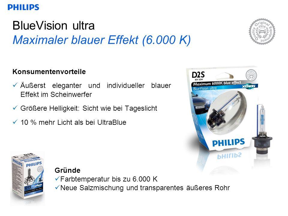 BlueVision ultra Maximaler blauer Effekt (6.000 K) Konsumentenvorteile Äußerst eleganter und individueller blauer Effekt im Scheinwerfer Größere Helligkeit: Sicht wie bei Tageslicht 10 % mehr Licht als bei UltraBlue Gründe Farbtemperatur bis zu 6.000 K Neue Salzmischung und transparentes äußeres Rohr