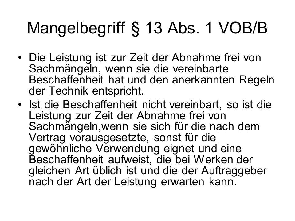 Mangelbegriff § 13 Abs.