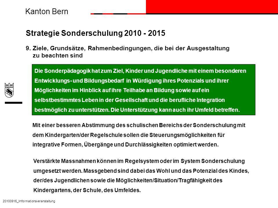 Kanton Bern Die Sonderpädagogik hat zum Ziel, Kinder und Jugendliche mit einem besonderen Entwicklungs- und Bildungsbedarf in Würdigung ihres Potenzia