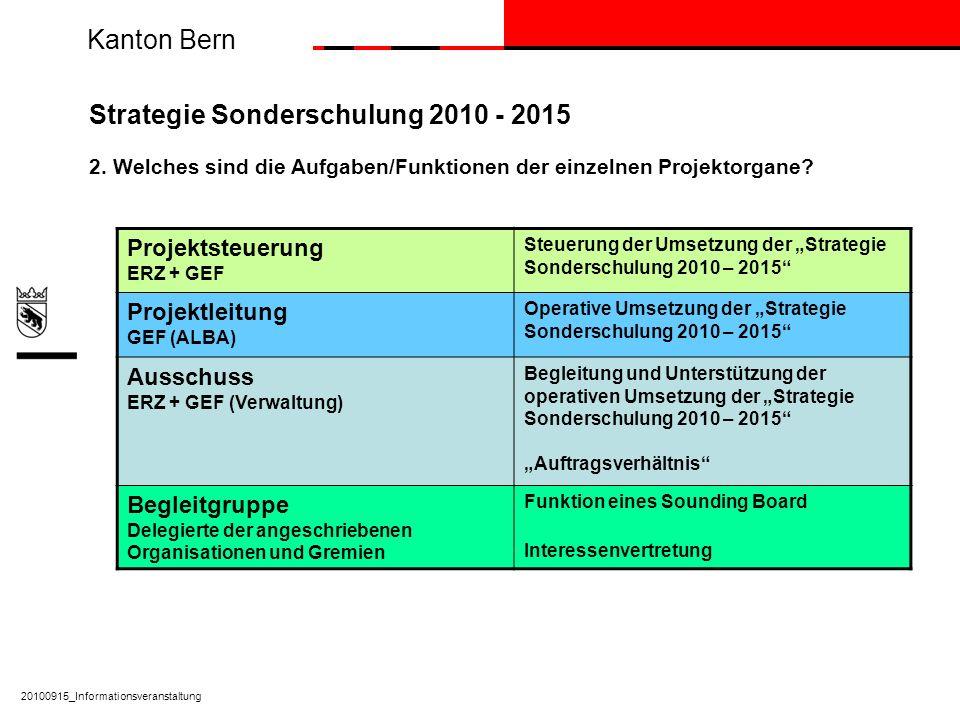 Kanton Bern Strategie Sonderschulung 2010 - 2015 2. Welches sind die Aufgaben/Funktionen der einzelnen Projektorgane? Projektsteuerung ERZ + GEF Steue