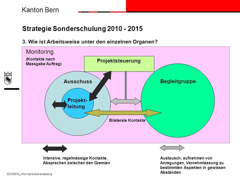 Kanton Bern Strategie Sonderschulung 2010 - 2015 3. Wie ist Arbeitsweise unter den einzelnen Organen? Projekt- leitung 20100915_Informationsveranstalt